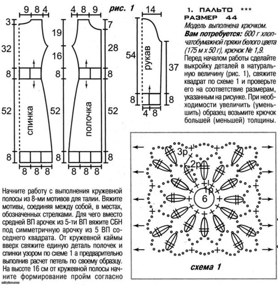 Пальто крючком схема и описание