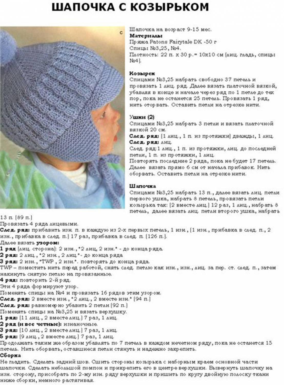Схемы вязаний детских шапочек спицами для