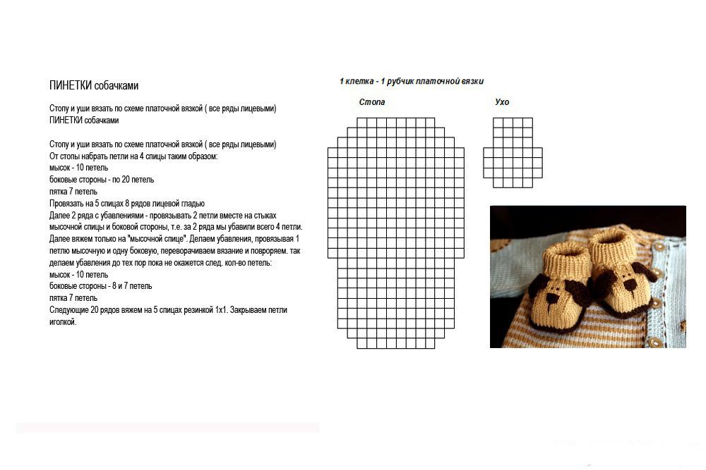 Вязанные пинетки схемы и описания